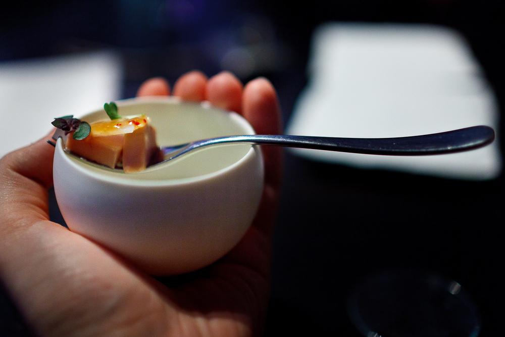 2nd Course: Foie gras, daikon, shiso, yuzu
