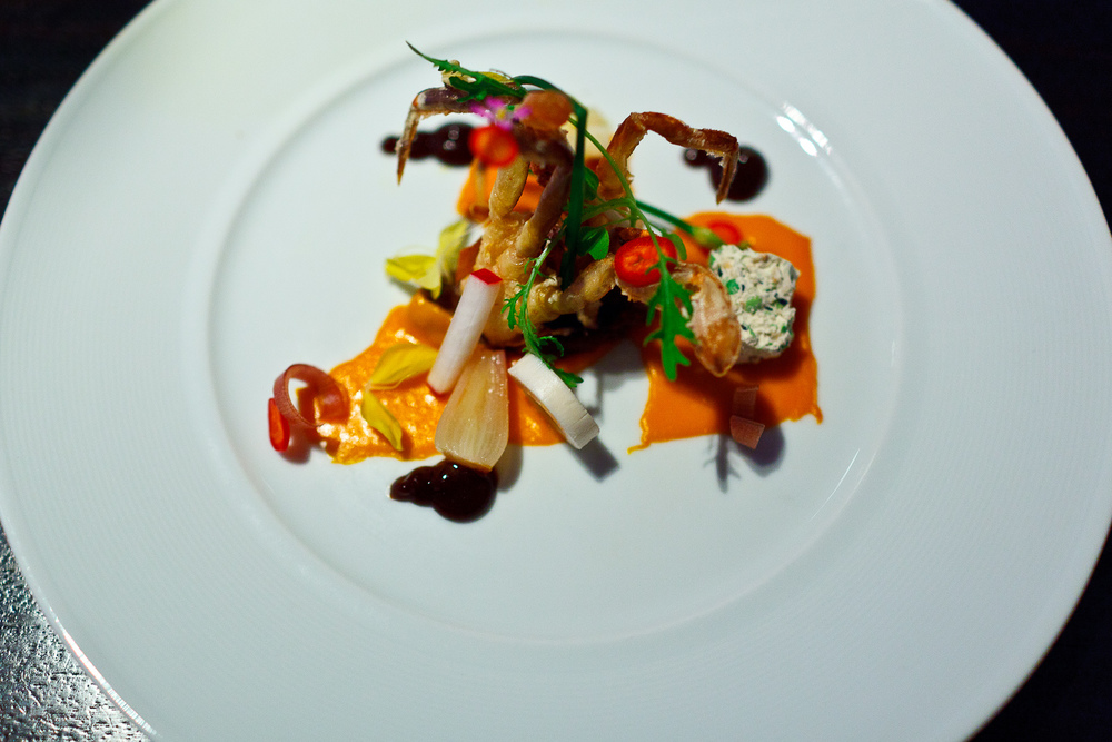 5th Course: Soft shell crab, carrot, five spice, duck
