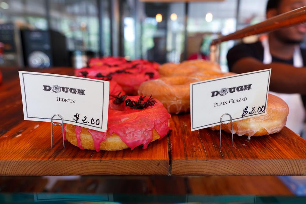 Hibiscus and Plain glazed doughnuts