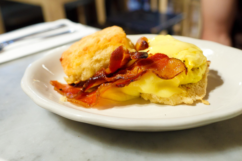 Biscuit with bacon, egg, and cheese ($7.50)