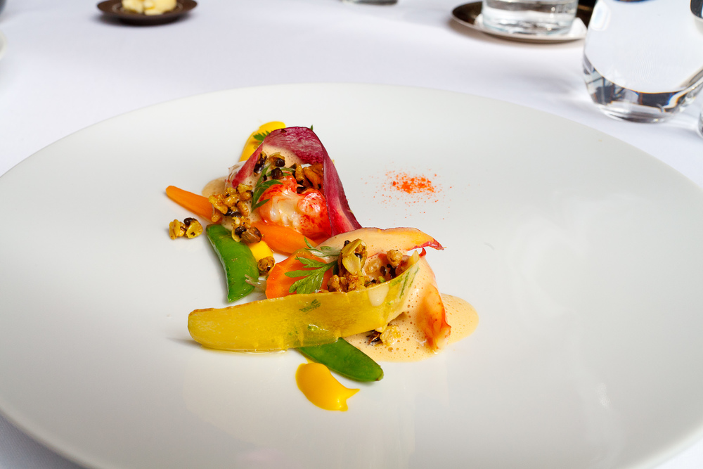 2nd Course: Poached lobster with carrots and vadouvan granola