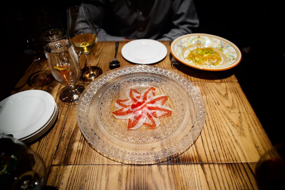 Un plato de jamón ibérico de bellota