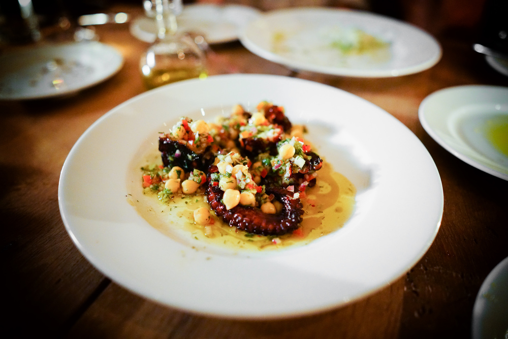 Seared octopus with chickpeas and salsa verde ($19)
