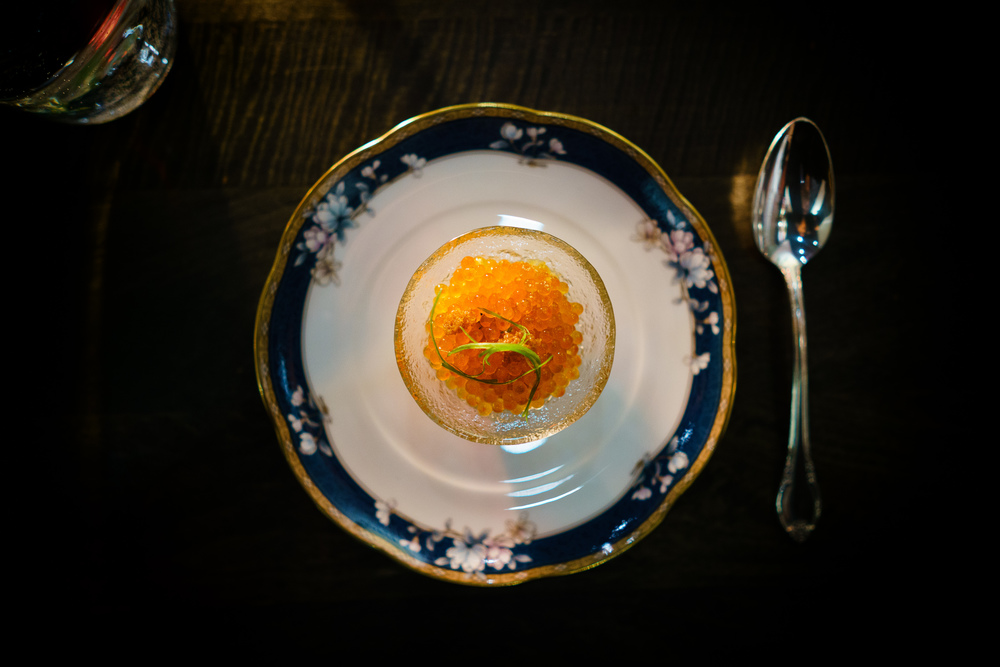 Sea food Açorda (bread porridge), trout roe and kombu