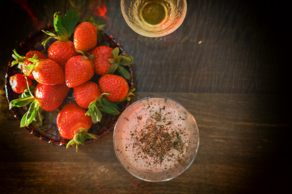 Strawberries and black sesame