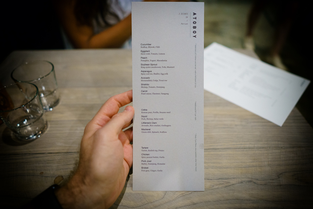 The menu at Atoboy. 3 dishes for $36.