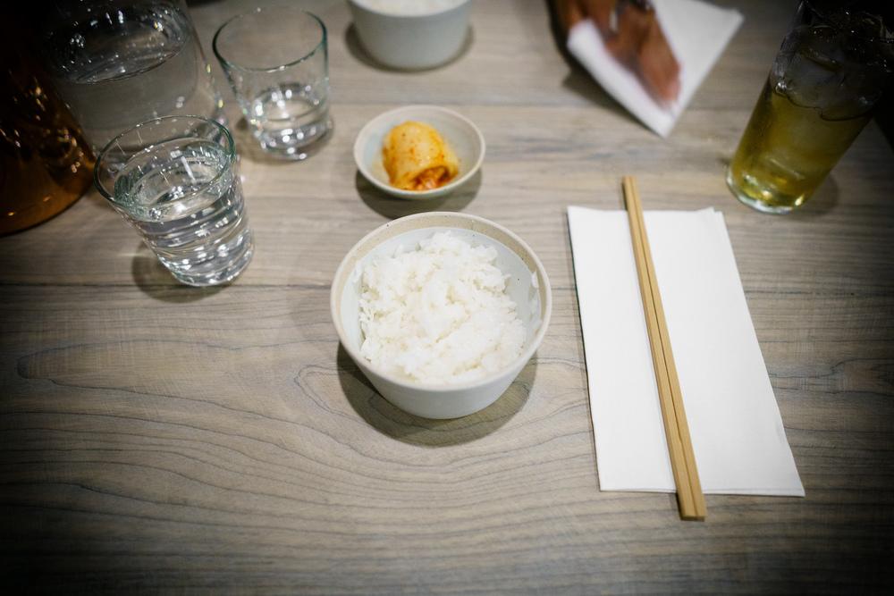 House rice and kimchi