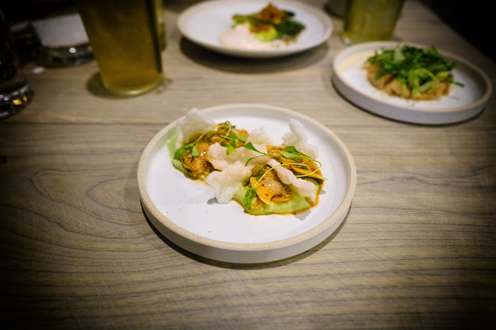 Littleneck clam, avocado, rice cracker, gochugaru