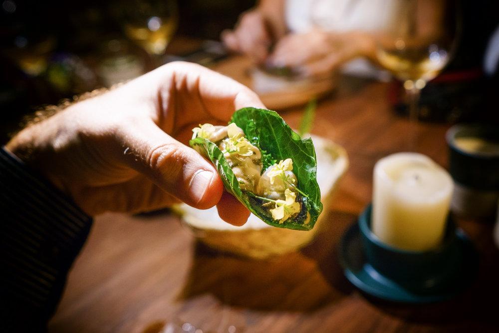 Chaya taco with fresh Bahia Falsa oyster, up close