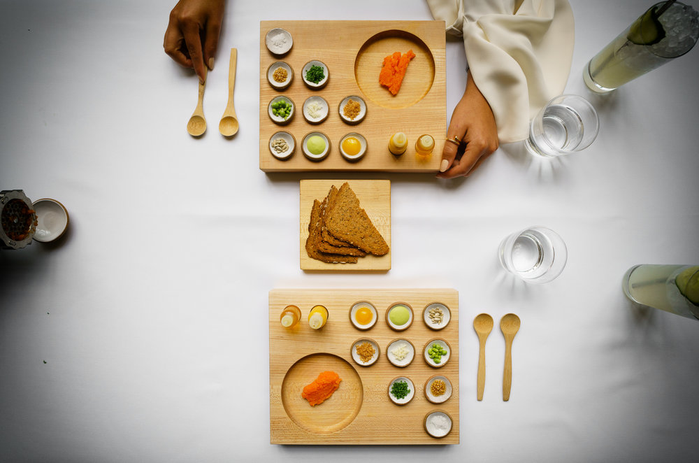 Carrot: tartare with rye toast and condiments (2012)