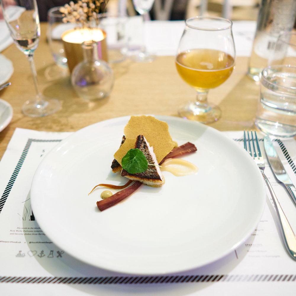 Mediterranean bass, parsnip jerky, pickled ginger, nori mustard