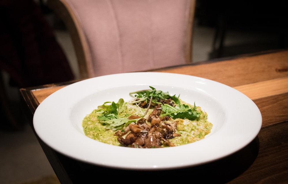 Farro Risotto, roasted mushrooms, kale pesto