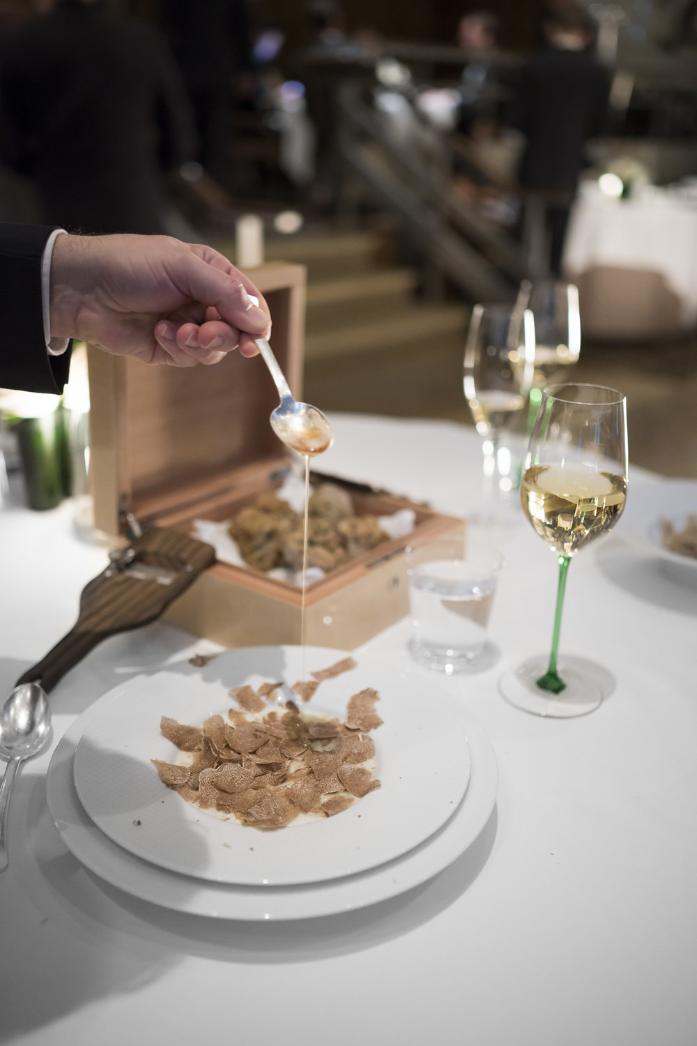 """Carnaroli Risotto Biologico."" Shaved White Truffles from Alba. ""Beurre Noisette,"" and ""Parmigiano Reggiano."""