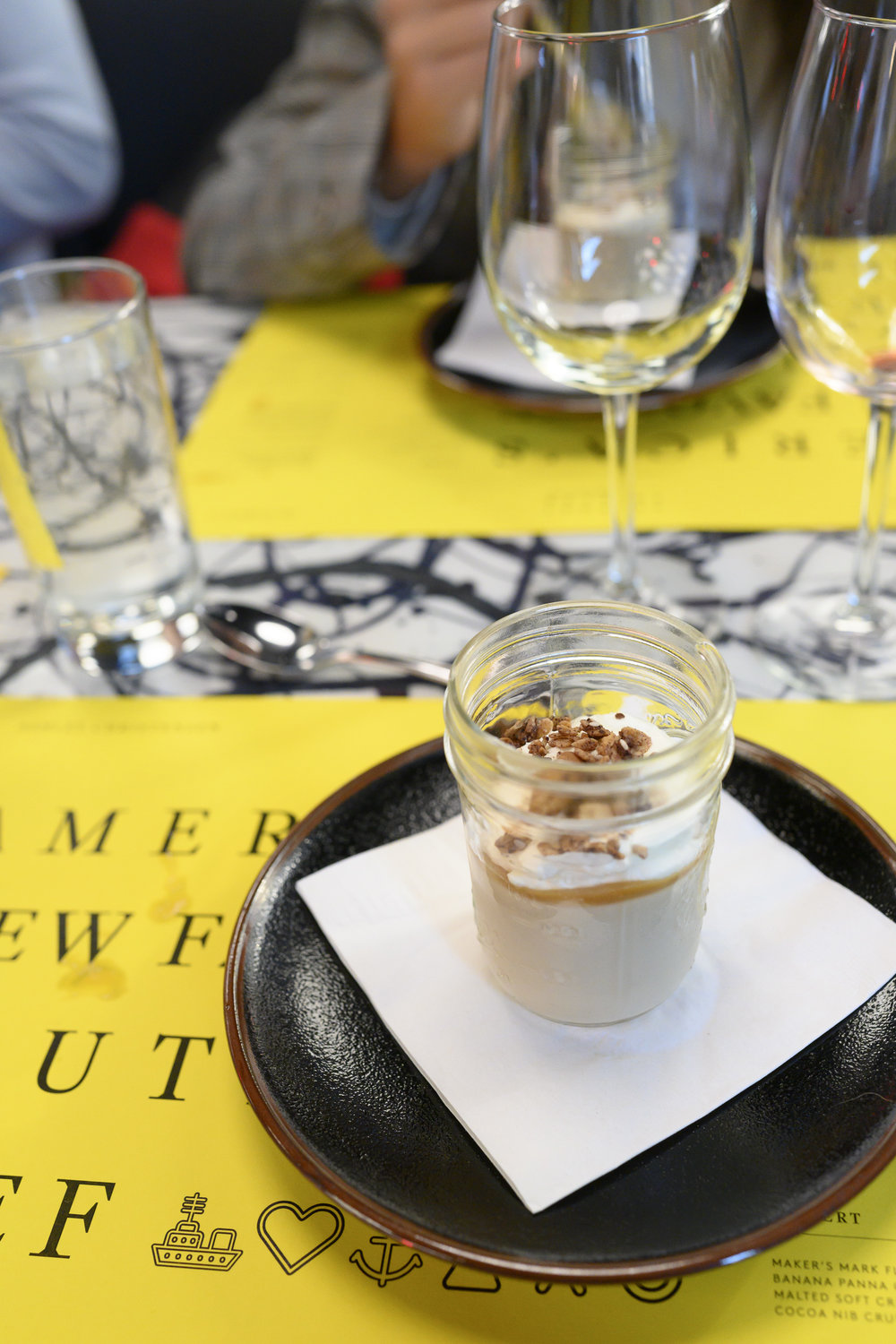 Maker's Mark Flambeed Banana Panna Cotta with Malted Soft Cream and Cocoa Nib Crunch