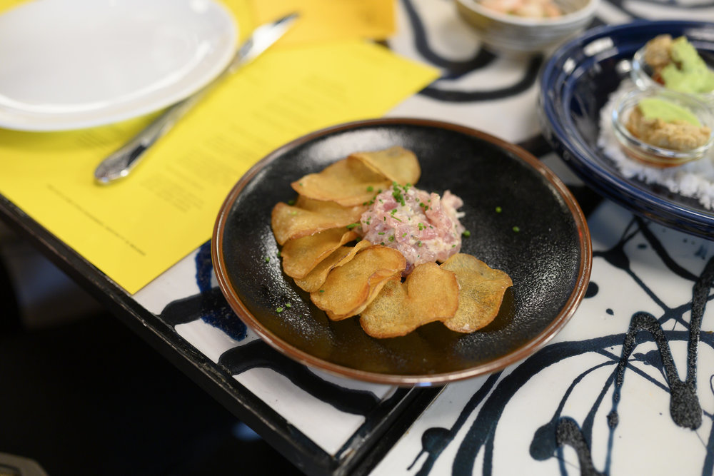 Tuna Tartare with Lemon and Preserved Truffle and Brown Butter Potato Chips
