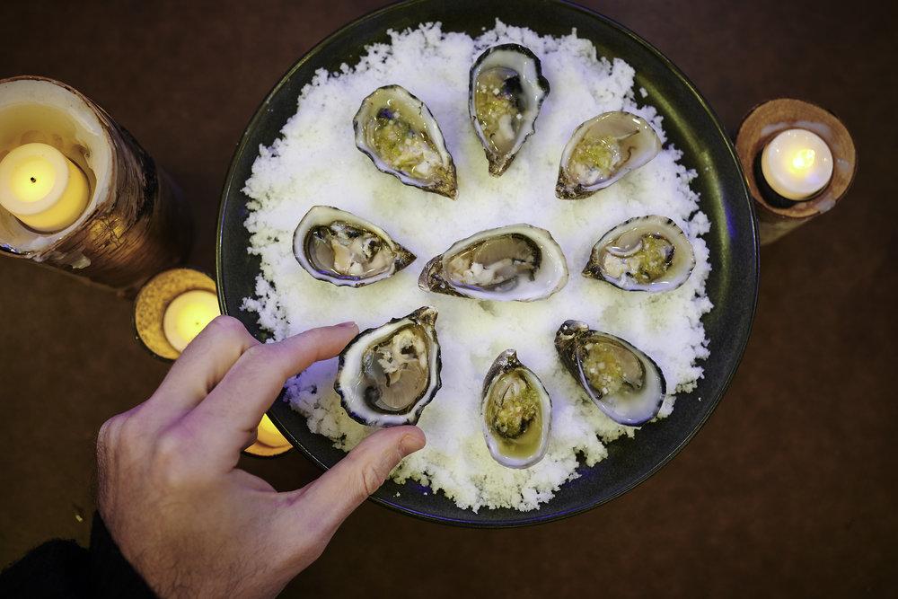 Oysters in Yuzu Kosho Mignonette