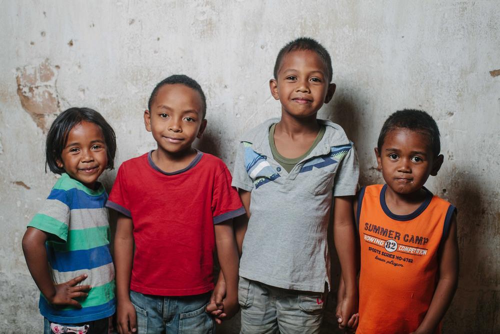 Mamina (5), Mihary (7), Luca (7) and Ajarah (5)
