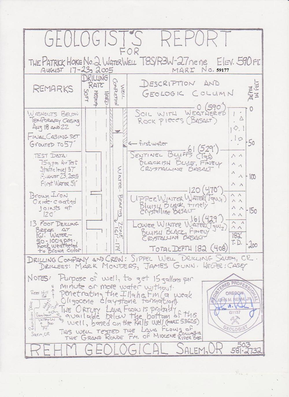 Hoke No 2 well Geologist Report  08S03W27aa MARI 59177.jpg