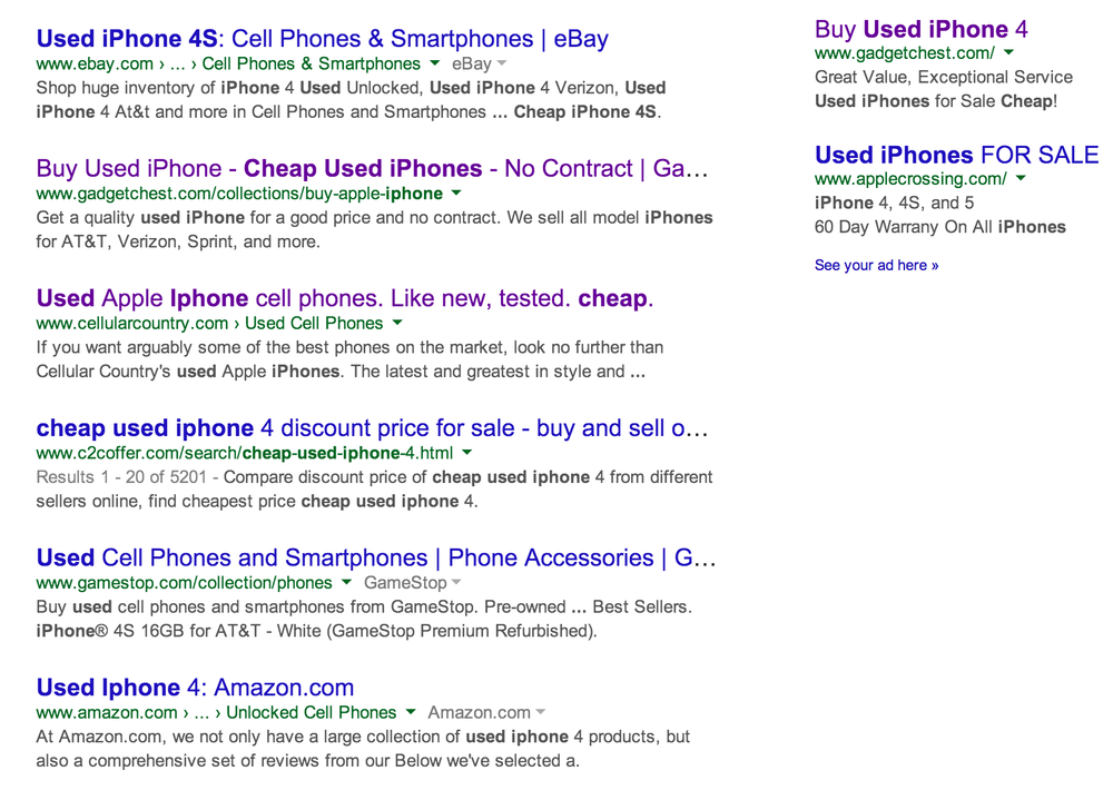 """First page organic Google placement for """"cheap used iPhones"""" alongside  eBay ,  Amazon ,  GameStop , and more."""