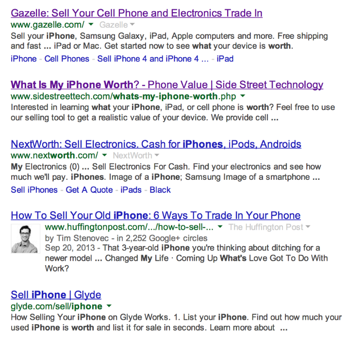 """SideStreetTech.com showing up for the number 2 top first-page placement for the search """"what's my iPhone worth"""" on Google on 2/10/2014. Click picture for full search result screenshot with date."""