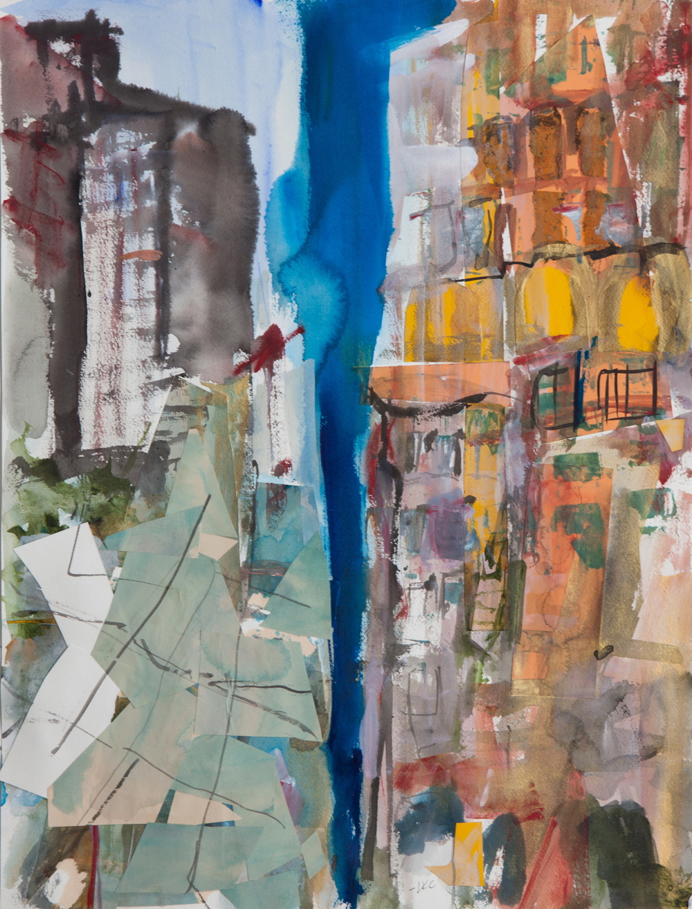 "Blue Sky Between Buildings 24""x18"" cut paper, acrylic, watercolor and ink on paper"
