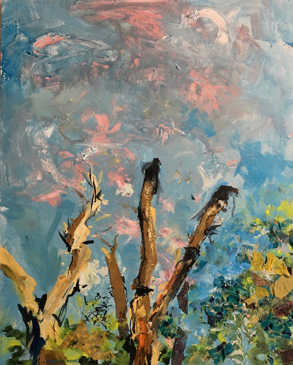 """Turkey Vultures 30"""" x 24"""" acrylic and fabric on canvas"""