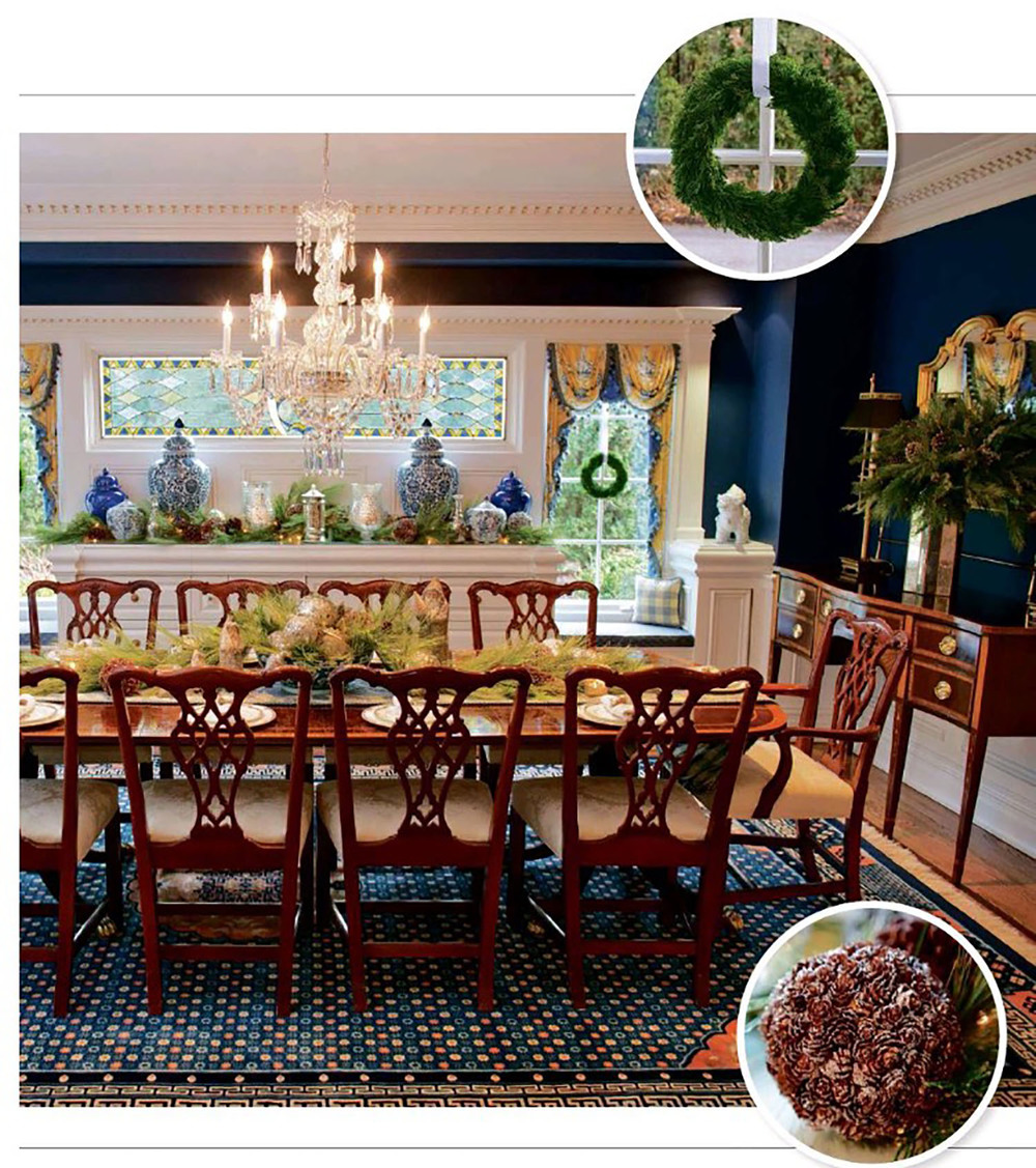 Image via 201 Magazine. This is a home I worked on years ago. The new owners' holiday decor was featured in the December 2015 issue of 201 Magazine. I was delighted to see that they decided to preserve the integrity of our original design, including the molding, wainscoting, built-ins, paint color, and even fabric choices! Here's the proof that decorating with all five of your senses carries an inherent timelessness that cannot be denied.
