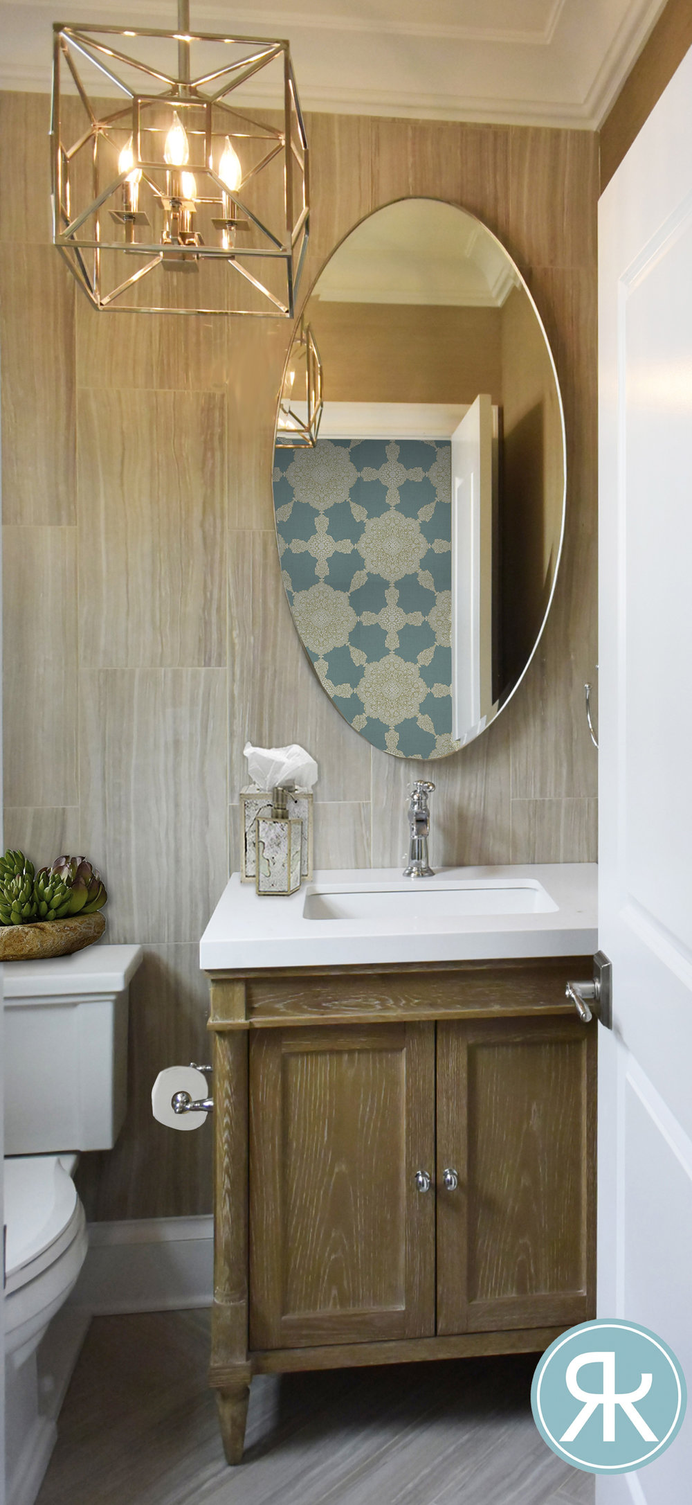 Bathroom-Texture-Tile-Porcelain-Natural-Rustic-Wood-Vanity-Bold-Pattern-Wallpaper-Crystal-Chandelier-Oval-Mirror-Smallspace-Renovation-InteriorDesign-Regina-Kay-Interiors.jpg