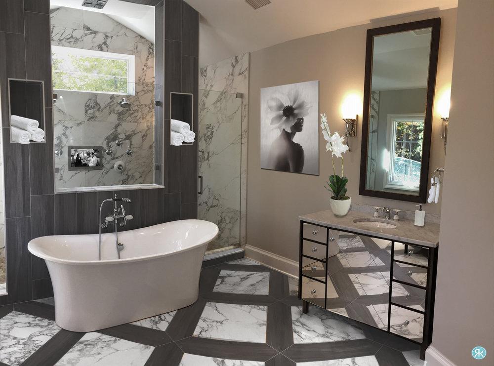 Bathroom-Master-Suite-Diamonds-Tile-Custom-Vanity-Mirror-Gray-Wood-Marble-Elegant-Chic-Dual-Shower-Artwork-Flowers-Sconces-Tv-Tub-InteriorDesign-Regina-Kay-Interiors.jpg