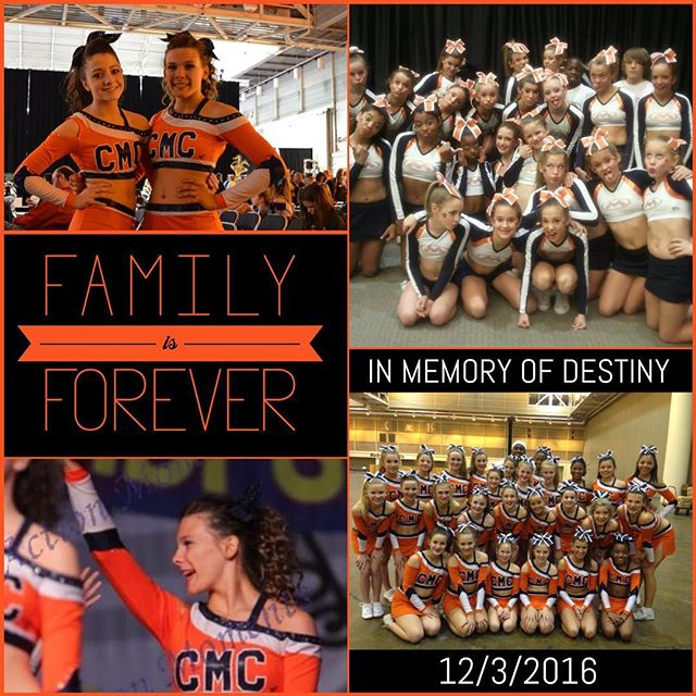 Our hearts are broken 💔 Destiny, along with her brother, gained her angel wings yesterday. If you had the pleasure to know this girl when she cheered at CMC, you know that she always had a huge smile on her face and a personality that is unforgettable. Please keep Tiffany, Tristan, Nickolas and the rest of the family in your thoughts and prayers as they go through this difficult time. Watch over us Destiny Joy, and keep on cheering from above 💙