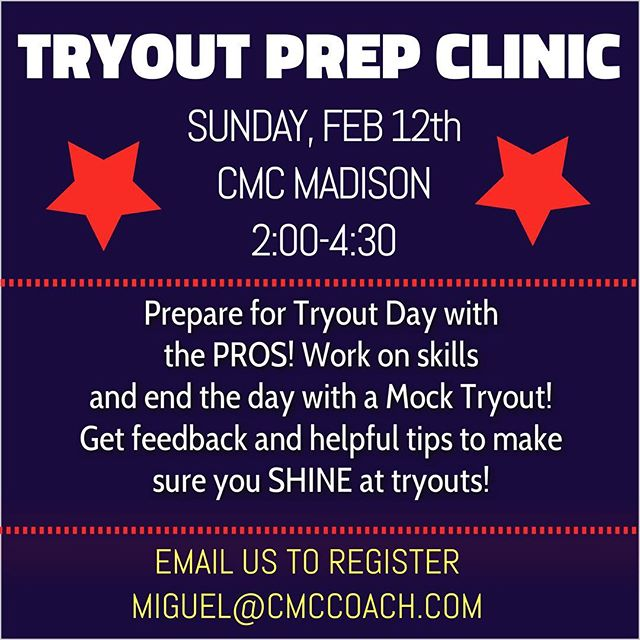 Don't miss out on the TRYOUT PREP CLINIC this Sunday, Feb 12th! The cost is only $50 and you get to train with the best! Make sure when tryout day comes around you are prepared! Email miguel@cmccoach.com for more info and to register!