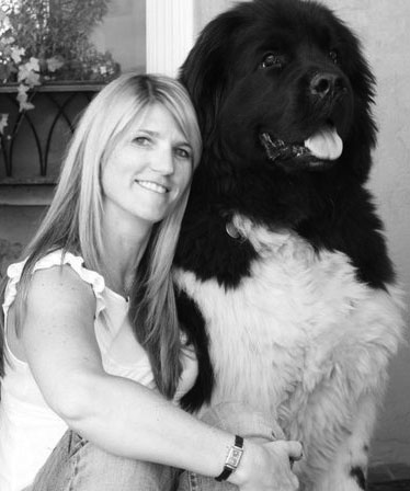 Kellie Phipps with her newfoundland, Morrison