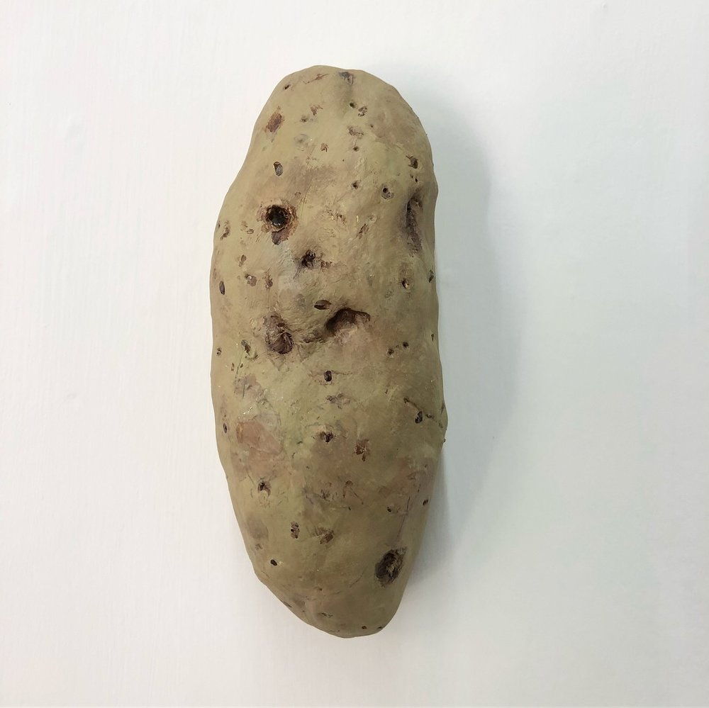 Spectre 1/20 2018  Clay, Oil, Acrylic, Graphite, Screw  A series of twenty wall based, actual size recreations of potatoes with characteristics of pareidolia. The works appear as found objects though their construction is intentionally evident in each form.