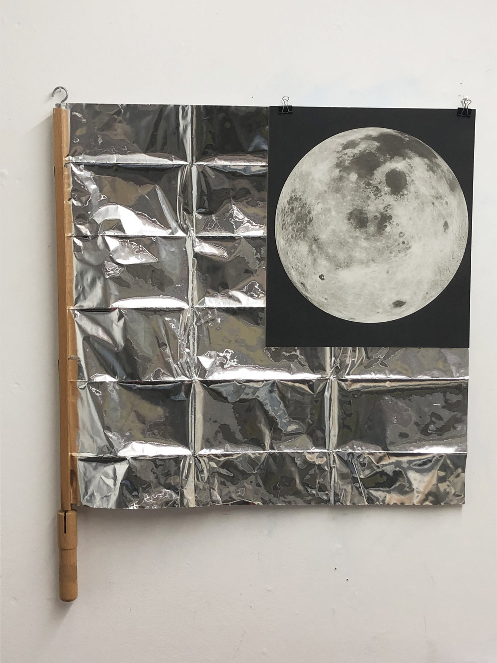 Moon #2 2019 Newspaper holder, Insulation foil, Print, Clips