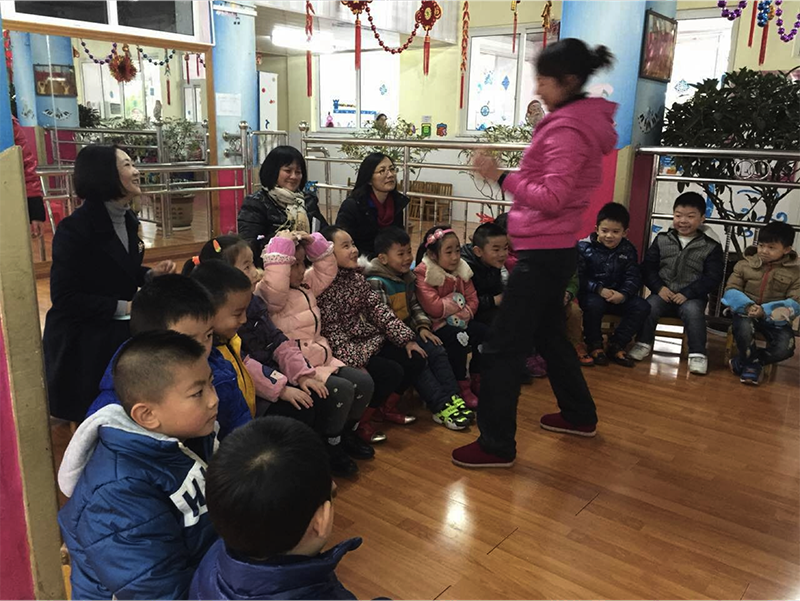 Storytelling session at a kindergarten.