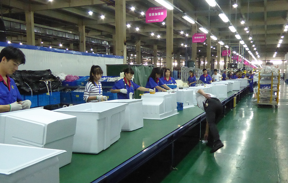Assembly line inside the workshop at the Zungui Refrigerator Factory in Hefei, China.