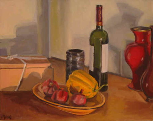 Still Life with Red Vase II