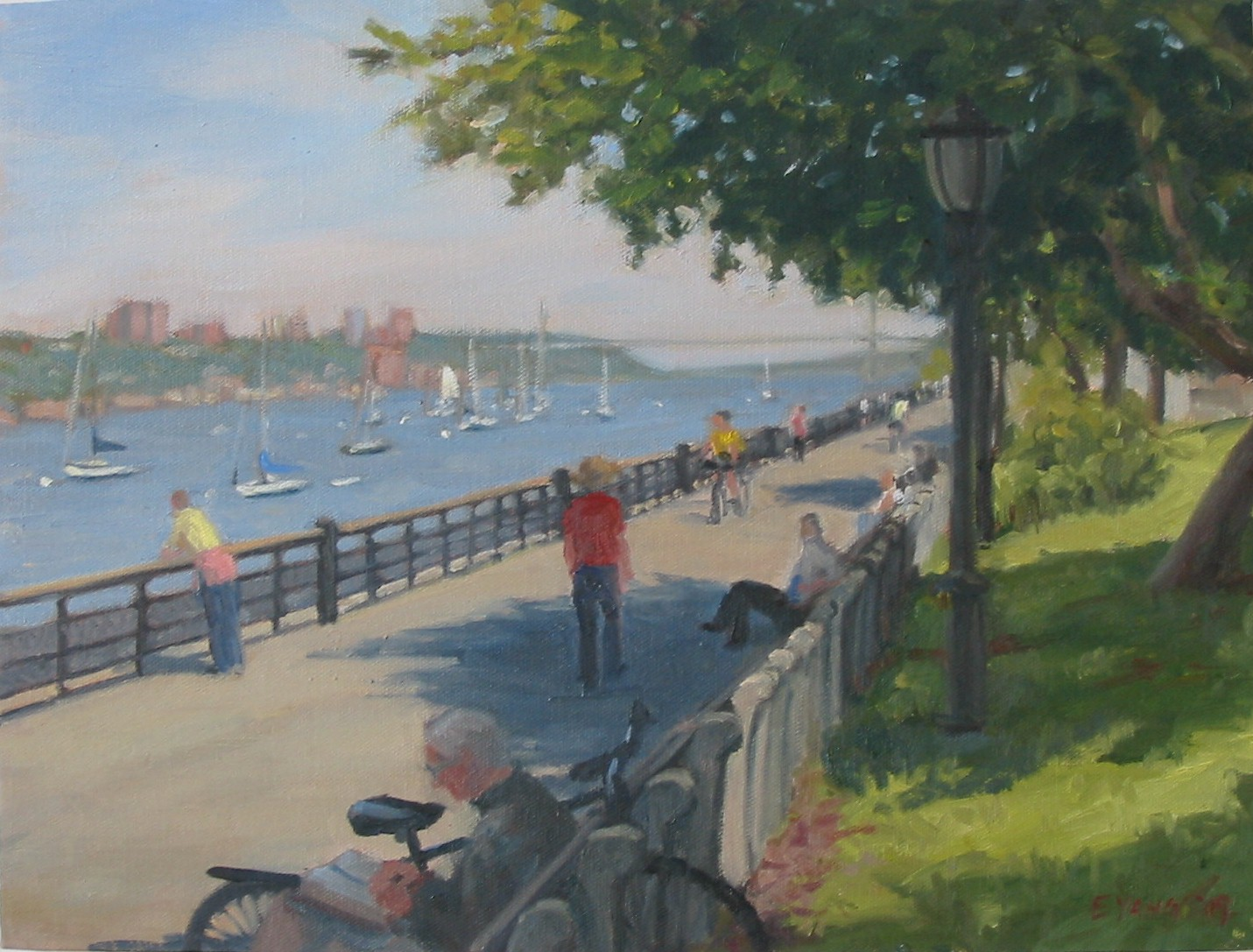 "Riverside Park Morning, oil on canvas, 12""x16"""