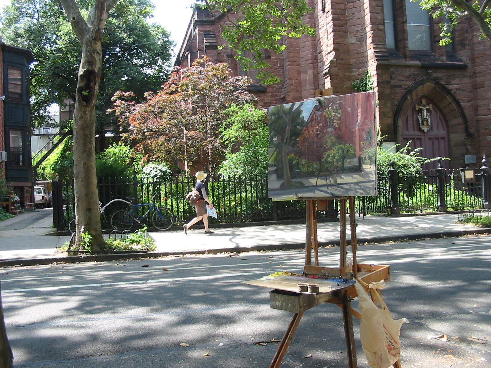 Easel set up on Clinton Street