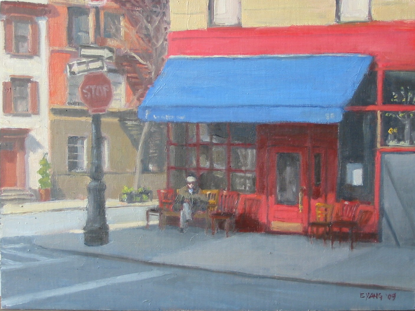 Little Owl Cafe, Greenwich Village, oil on panel, 9 x 12 in.