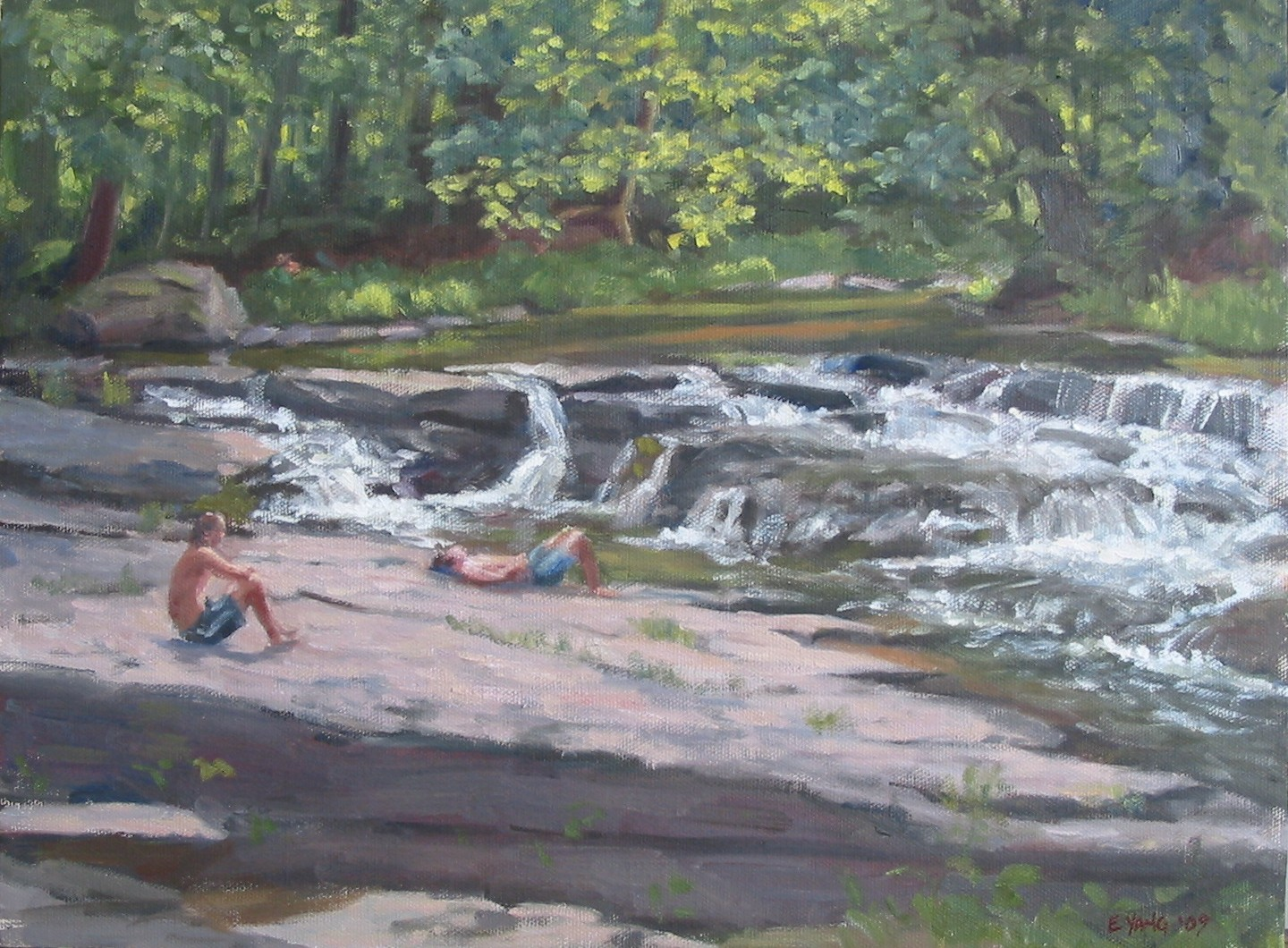 Drying Off By Waterfalls, oil on canvas, 12 x 16 inches