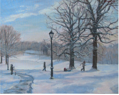 Sledding Home, oil on canvas