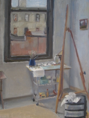 "Corner of Studio, oil on canvas, 16""x 12"""