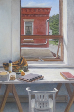 "Studio in Vermont, oil on linen, 36""x24"""