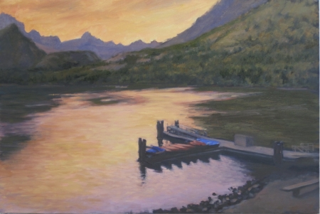 Swiftcurrent Lake sunset.B.500