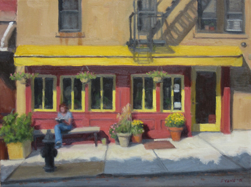 Reading Under Yellow Awning