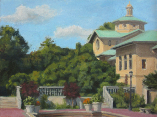 "Brooklyn Botanic Garden Library, 12""x16"", oil on canvas"
