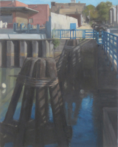 "Pilings by Bridge , oil on canvas, 20""x16"", 2013"