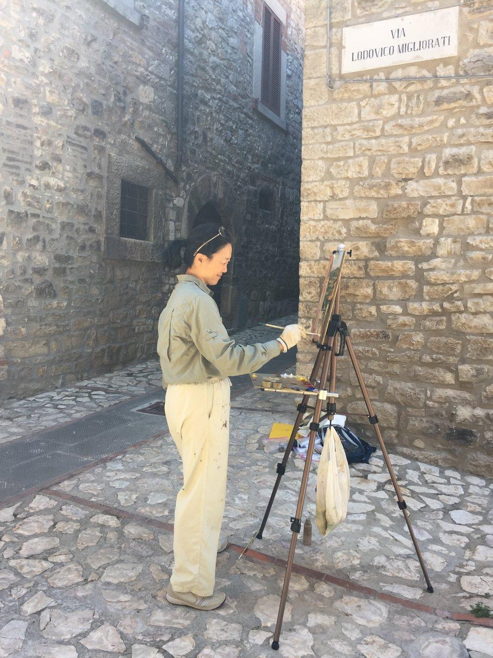 Painting in Monte Castello di Vibio, June 2017