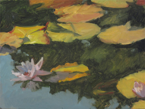Pink Waterlily with Tree Reflection, oil study, 2017